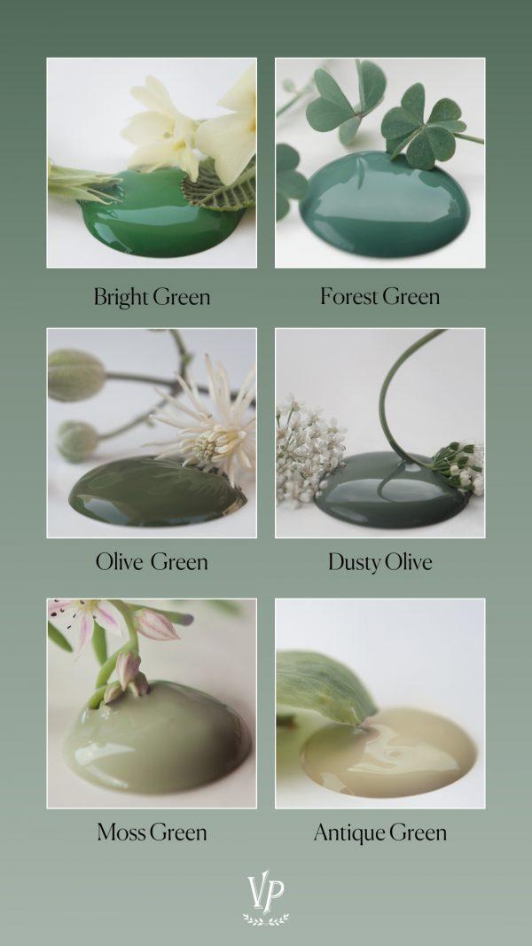 Vintage Paint gröna kalkfärgs nyanser