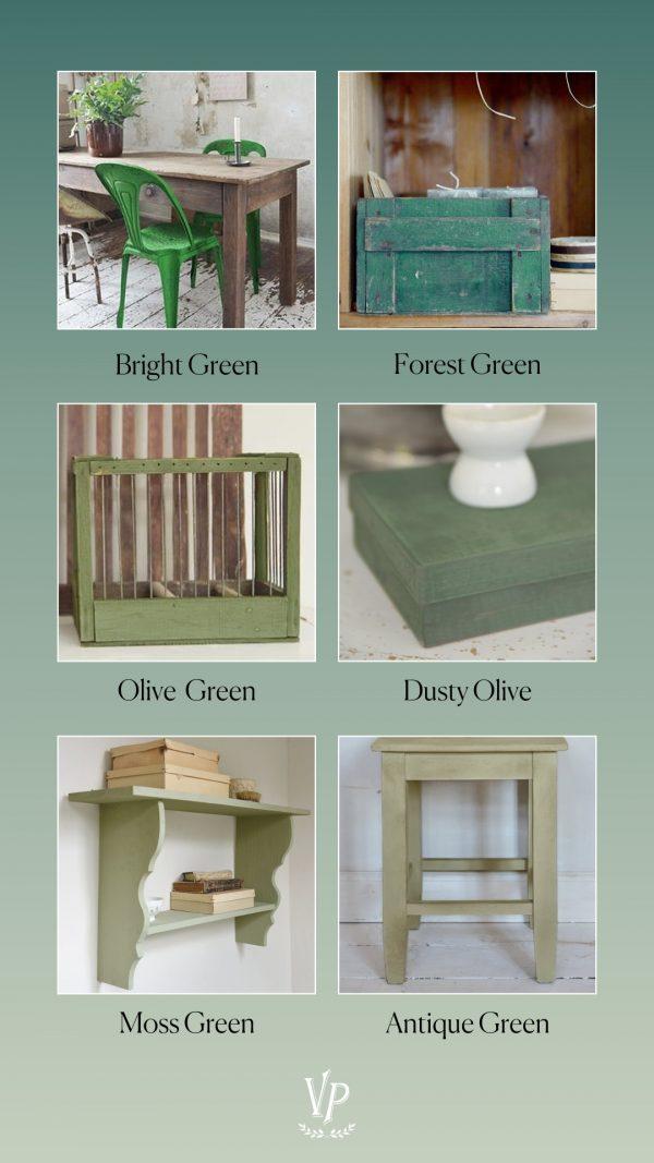 Möbler och produkter målade i olika gröna kalkfärgsnyanser