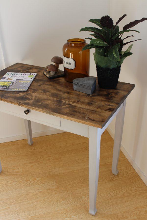 Praktiskt litet arbetsbord som inretts med apoteksburk, grönväxt och gamla dekorativa svampar