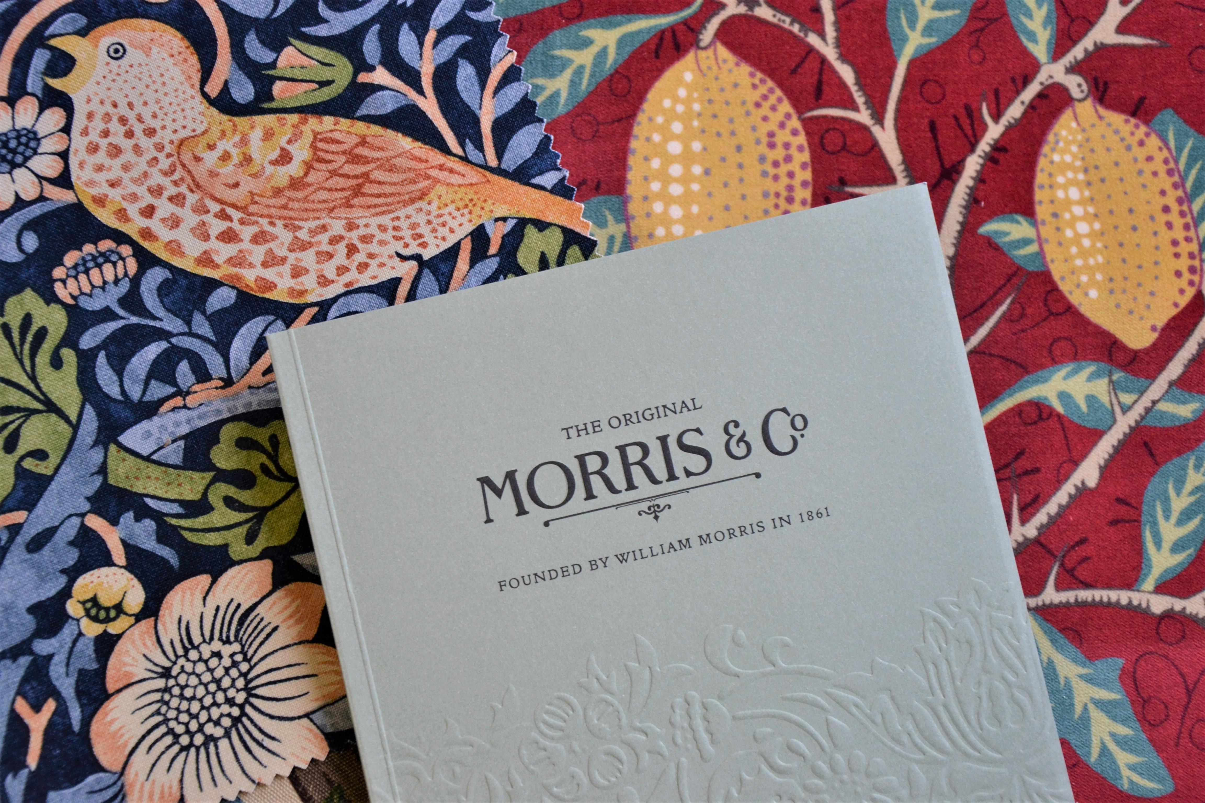 William Morris, tyg, röd, grön blå, vackert mönster